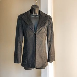 BEBE sz 4 black animal print jacket like new